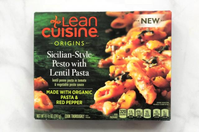 Lean Cuisine Origins Sicilian Pesto with Lentil Pasta is a frozen entree with plant protein mainly coming from organic lentil fl