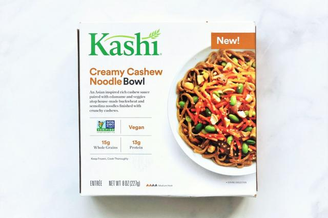 Kashi Creamy Cashew Noodle Bowl is a frozen entr�e with its key protein source coming from non-GMO edamame.