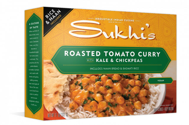 Sukhi�s Roasted Tomato Curry with Kale & Chickpeas is a frozen meal that gets its main source of protein from chickpeas.