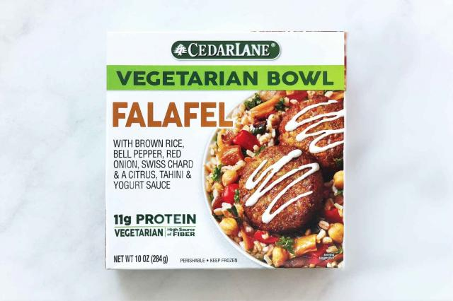Cedarlane Vegetarian Falafel Bowl is a frozen vegetarian entr�e with its main source of protein coming from garbanzo beans.