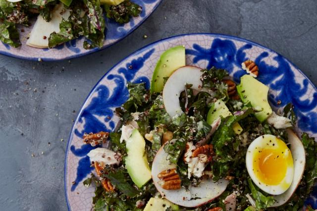 Kale and Chicken Caesar Salad With Quinoa and Pecans