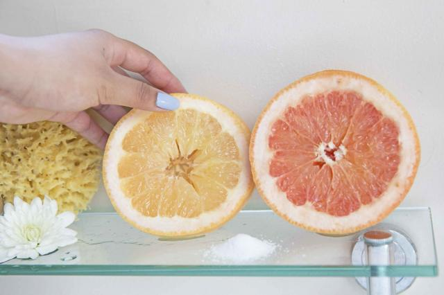 grapefruit halves and kosher salt