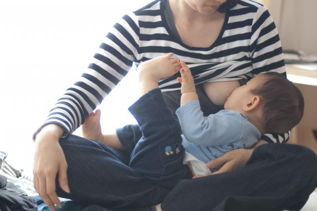 Mother and son breast milk