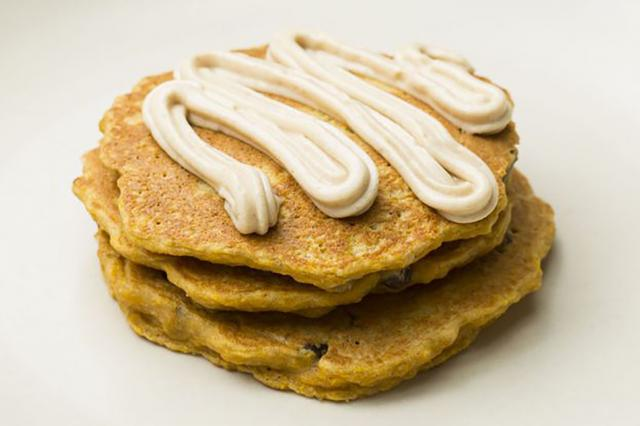 carrot cake pancakes with cream cheese frosting