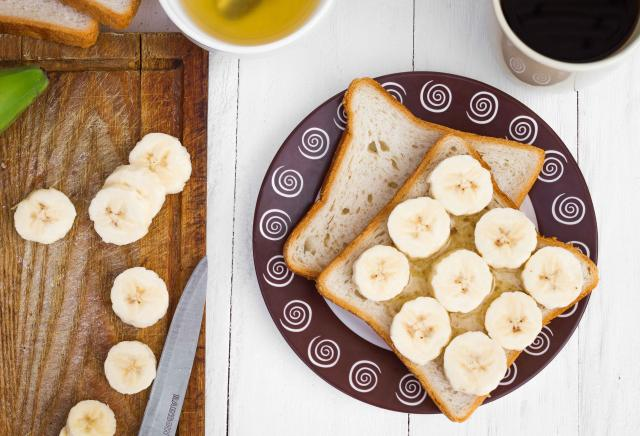Banana sandwiches with honey in close-up