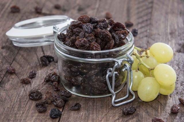 Raisins in a glass