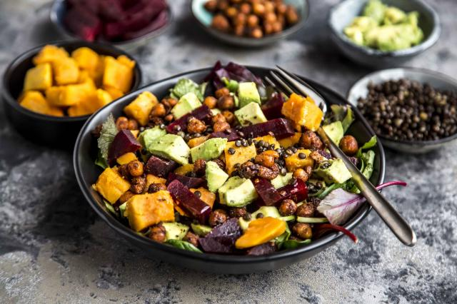 Superfood salad, avocado, beetroot, roasted chickpea, sweet potatoe, beluga lentil and blood orange