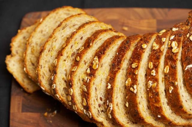 Bread slices on cutting board