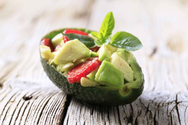 Avocado salad served in an peel
