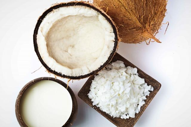 Coconut, coconut Cream Milk and Coconut flakes Studio Still Life