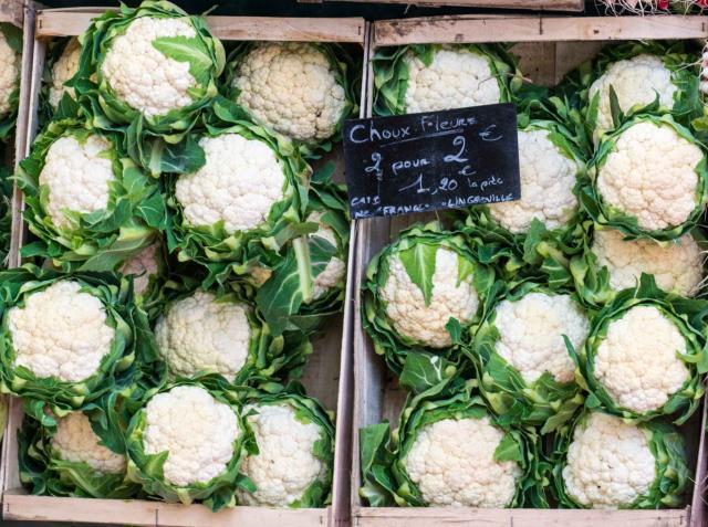 Cauliflowers on market stall