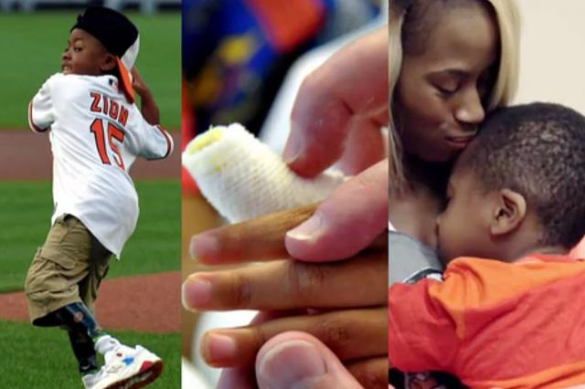 Zion Harvey plays baseball, hand and with his mother.