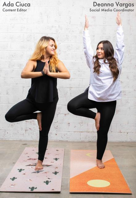 fabletics outfits and society6 yoga mats