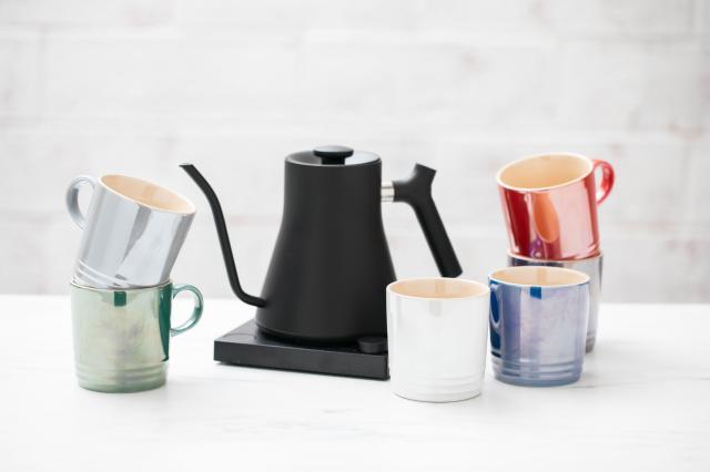 fellow kettle and le creuset mugs