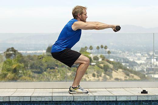Man doing squat exercise for better sex