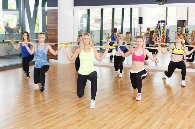 Group of young women in the fitness class