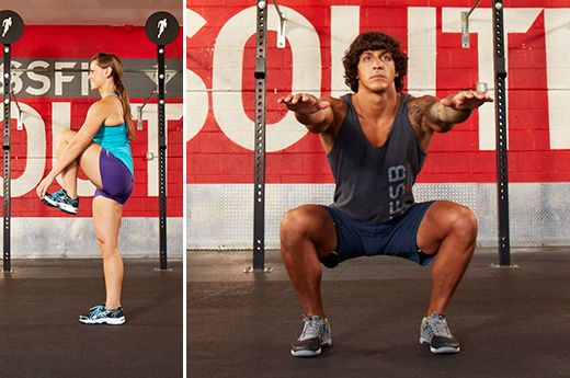 Crossfit box jump people group and kettlebell man