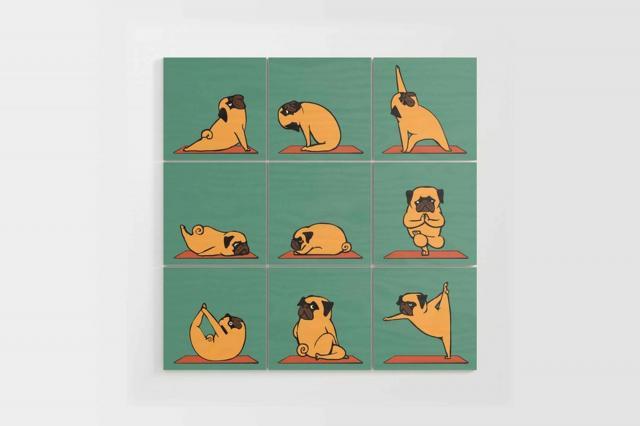 society6 pug yoga wood wall art