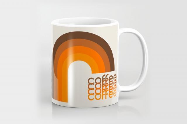 society6 brown rainbow coffee mug