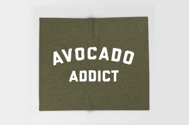 society6 avocado addict funny quote throw blanket