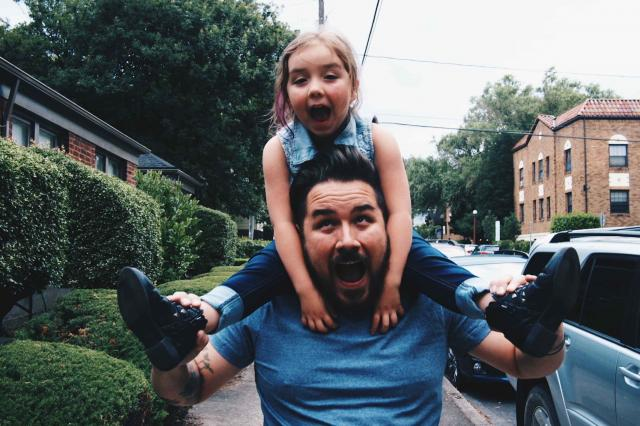 father and daughter hanging out