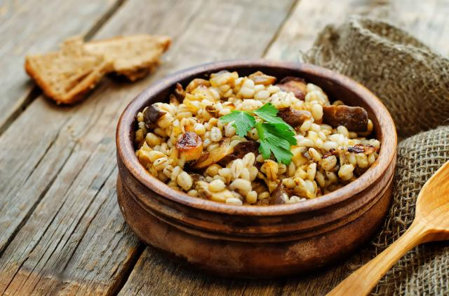 barley porridge with mushrooms
