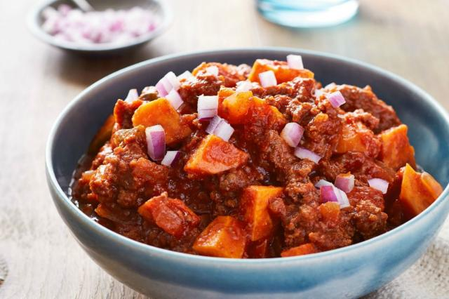 A Whole30 meal of sweet potato and ground beef chili