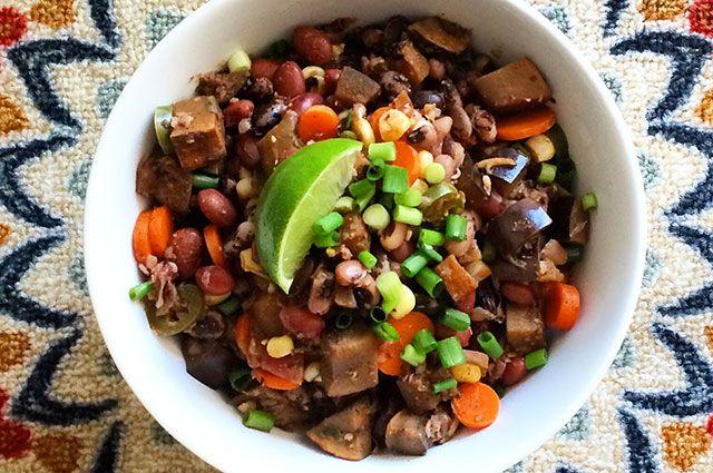 5. Vegan Three-Bean and Beer Chili