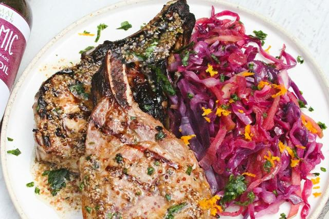 Honey-Mustard Pork Chops and Balsamic Braised Red Cabbage