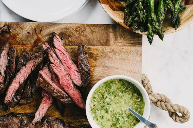 pan-seared steak with chimichurri sauce