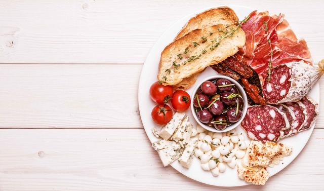 Snack set. Variety of cheese and meat.