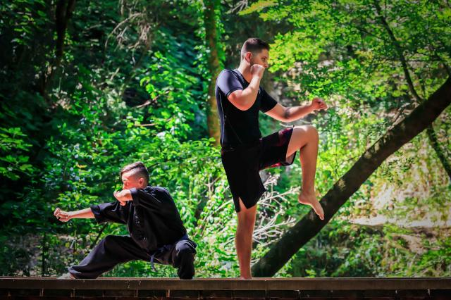 two men learning Hung Gar Kung Fu
