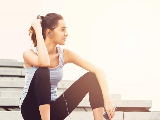 woman resting from her workout