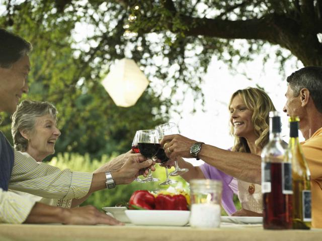 Two couples toasting at dining table in yard
