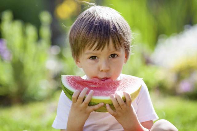Boy, eating watermelon in the garden, summertime