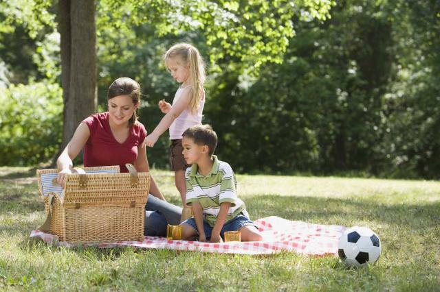 Mother and children having picnic in park